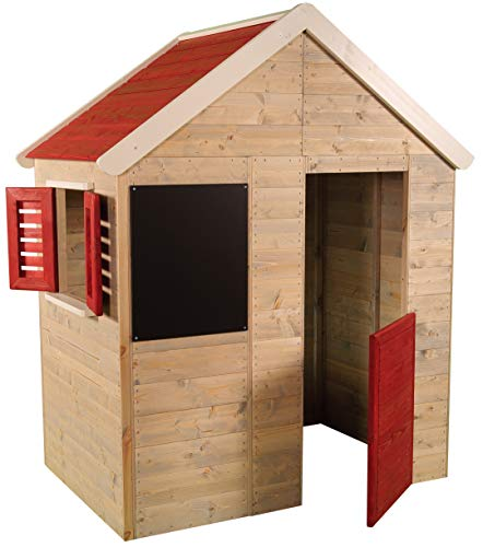 Casita infantil de madera para exteriores | Casa de jardín para niños tipo abierto tipo S con pizarra, ventana, persianas, media puerta