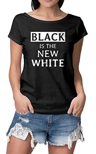RoughTex Damen T-Shirt Wide Neck Bedruckt Statements für Schwarzträger New White M (07 Womens T-shirt)