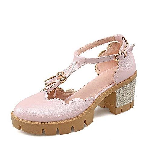 AllhqFashion Damen Fransig PU Hoher Absatz Rund Zehe Schnalle Pumps Schuhe, Pink, 39