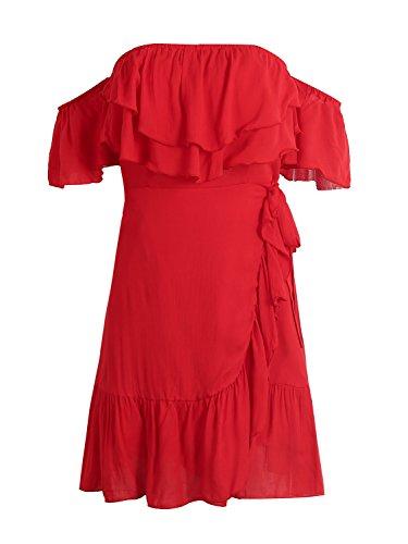 Simplee Apparel Damen Bandeau Kleid Rot