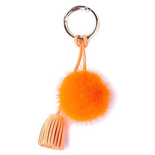 URSFUR Schöne Fell Bommel Fellkugel Anhänger Handyanhänger Plüsch Ball Schlüsselanhänger Schlüsselbund Schlüsselring - Orange (Handy-charme-pelz-ball)