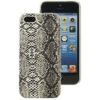 Mocca Design CI5S33 Coque en cuir simili pour iPhone 5 Blanc Façon Croco Python