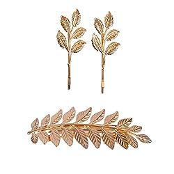 Aaishwarya Golden Leaf Motif Hair Tie & Hairclips/pins Combo For Women & Girls