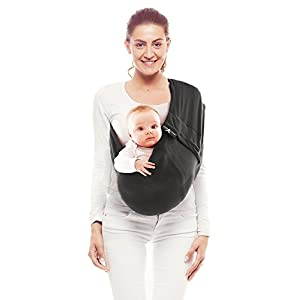 Wallaboo Wrap Sling Carrier Connection, Easy Adjustable, Ergonomic, 3 Carrying Positions, Newborn 8lbs to 33 lbs, Soft Breathable Cotton, 3 Sitting Positions, EU Safety Tested, Color: Black   11