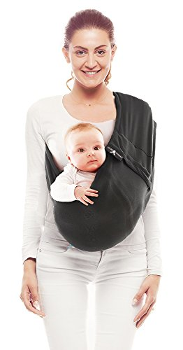 Wallaboo Wrap Sling Carrier Connection, Easy Adjustable, Ergonomic, 3 Carrying Positions, Newborn 8lbs to 33 lbs, Soft Breathable Cotton, 3 Sitting Positions, EU Safety Tested, Color: Black Wallaboo Ergonomically correct design with three natural positions: sleep, sit and active - one size fits all Can be used from premature baby through to 33lbs - with easy-to-use features like a full-front opening and an adjustable back Single piece of fabric, no straps, belts or buckles - Partly padded to give extra comfort - No wrapping, no hardware. Ready to wear 1