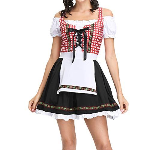 IZHH Oktoberfest Damen Kleider Halloween Dienstmädchen Kostüm Sexy Cosplay KleiderDamen Oktoberfest Costume Bavarian Beer Girl Drindl Tavern Maid Kleider mit Schürze(rot,L)