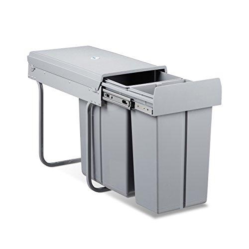 Relaxdays Mülltrennsystem 2 fach, HxBxT: 41,8 x 26 x 48 cm, ausziehbar, 2 Eimer, 30 Liter, für Biomüll, Kunststoff, grau