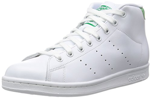 adidas Hombre Stan Smith Mid gimnasia, Bianco (Ftwwht/Ftwwht/Green), 37,5