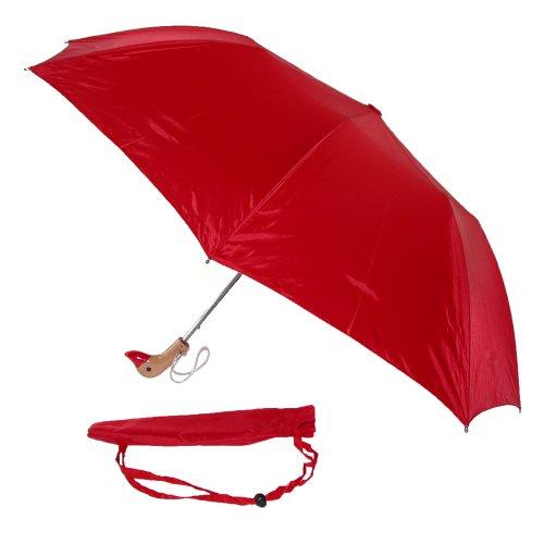 leighton-unisexe-parapluie-tte-de-canard-en-bois-taille-unique-rouge