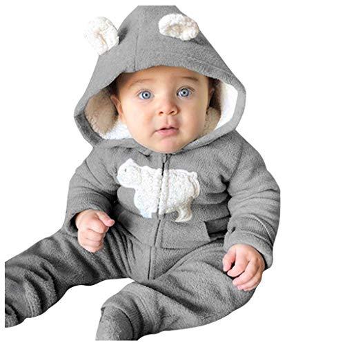 DIASTR Baby Strampler Fleece Kapuzen Jumpsuit Onesies