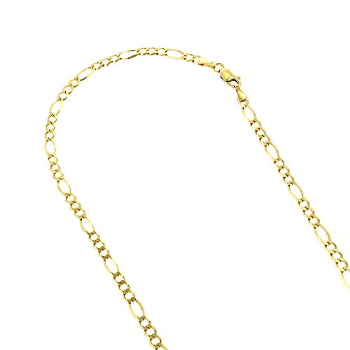 10k-18-yellow-solid-gold-3mm-diamond-cut-figaro-chain-link-necklace-with-lobster-clasp
