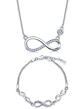 Yumilok 925 Sterling Silber Zirkonia Unendlichkeit Symbol Charm Armband Halskette Schmuck Set Armkette & Kette...