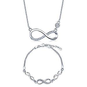 Yumilok 925 Sterling Silber Zirkonia Unendlichkeit Symbol Charm Armband Halskette Schmuck Set Armkette & Kette mit Anhänger Set für Damen Mädchen