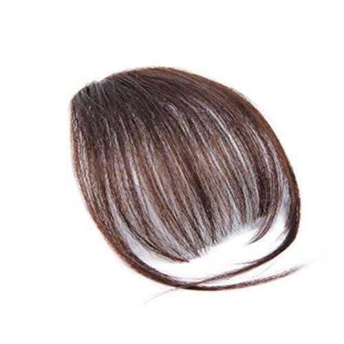 frcolor frangia Deluxe con clip Extension Capelli Parrucca di capelli per donna ragazza (marrone chiaro)