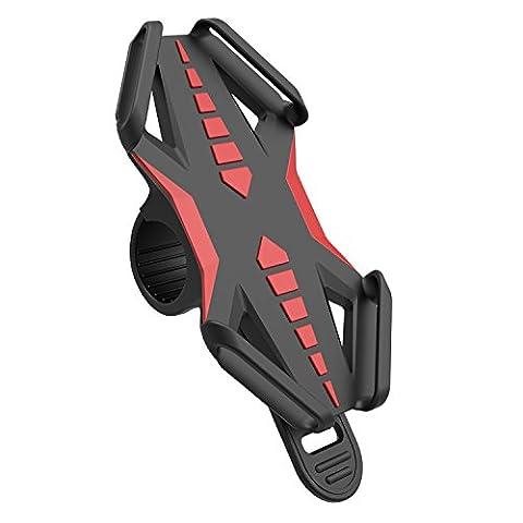 Support Vélo Téléphone, GVDV Support Vélo du Guidon pour Smartphone GPS, Sangle en Silicone, Noir et Rouge