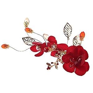 Domybest Damen rote Blume Perlen Legierung Haarnadel Braut Hochzeit Haarspangen Zubehör