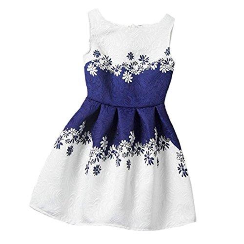 Bekleidung Longra Baby Kinder Kleinkind Mädchen Sommer Kleid ärmellos gedruckten große Größe Prinzessin Kleid Jugendliche Kinder Kleidung (3-7 Jahre) (150 5-6Jahre, (Kostüme Stadt Für Jugendliche Party)