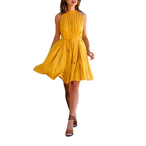 Sannysis Damen Sommer Kleid Damen Ärmellos Strand Party Kleid (L, Gelb)