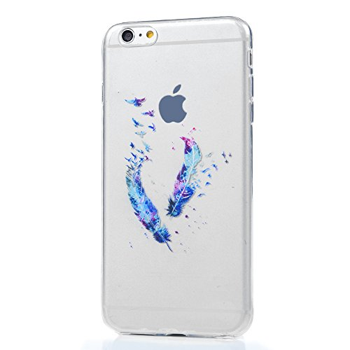 Badalink iphone 6s Plus Case Cover Hülle Handycase TPU Case Helle Schale Painted Gemalt Durchsichtig Transparent Etui Cover Protective Shell Telefon Kasten Soft Schutzhülle für iphone 6 Plus Case (5.5 Blaue Feder