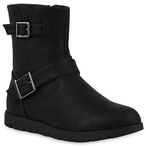 Stiefelparadies Damen Schuhe Biker Boots Gefütterte Stiefeletten Wildleder-Optik Stiefel 147847 Schwarz 39 Flandell