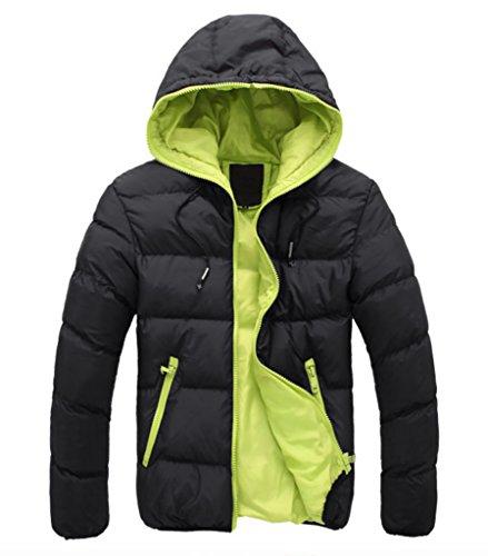 WSLCN Herren Schlicht Steppjacke Winter Jacke mit Kapuze Mantel Parka Einfarbig Schwarz / Grün
