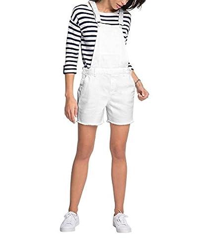 ESPRIT 056EE1L008-Jeans, Salopette Femme, Blanc (White 100), S (Taille Fabricant: S)