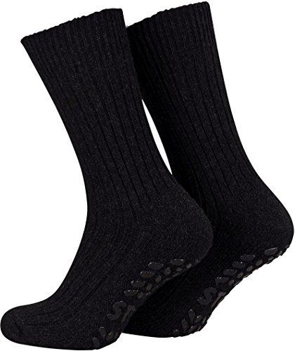 Piarini 2 Paar Stoppersocken mit Frotteesohle - ABS Socken Herren - Anti Rutschsocken mit Noppen aus Schafwolle - Wintersocken in schwarz Gr. 43-46