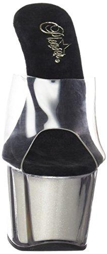 Pleaser Adore-701ng, Sandales  Bout ouvert femme Blanc Cassé - Bianco (Clr/Neon Wht Gltr)
