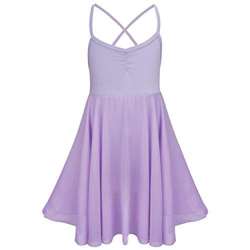 Kostüme Messungen Tanz (Tiaobug Kinder Mädchen Ballettkleid Ballettanzug Ballett Trikot Kleid mit Chiffon Rock in Weiß Schwarz Rosa Lavender Lavender)