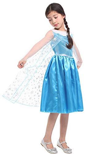 Königin Kostüm Schnee Winter - DEMU Kinder Prinzessin Kostüm für Karneval Verkleidung Party Mädchen Party Kleid Schnee Prinzessin Blau 120-130cm (7-9 Jahre)