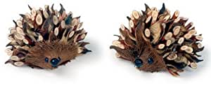 Hérisson en feutrine et bois, jolie décoration, 4 cm - lot de 2