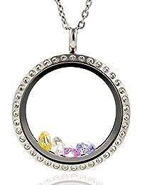 Flotación charms Living memory medallones de partidarios 316L vidrio templado con cadena inoxidable y colouridas piedra