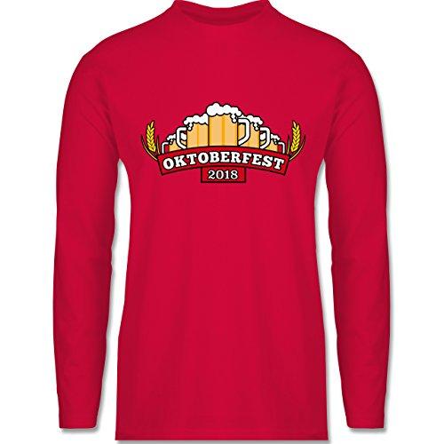 Shirtracer Oktoberfest Herren - Oktoberfest 2018 Krüge - Herren Langarmshirt Rot