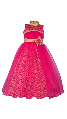 My Lil Princess Baby Girls Birthday Party wear Frock Dress_Bow Pink Frock_8-...