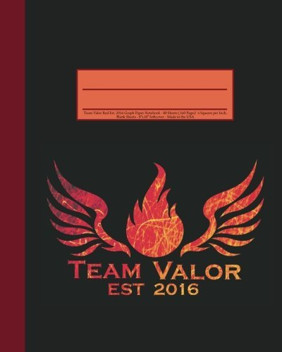 Team Valor Red Est. 2016 Graph Paper Notebook: 160 Page Softcover Journal, 4 Squares per Inch Graph Paper, 8x10 Blank Book, Workbook for Math & Science, Students, and Teachers by Tri-Moon Press (2016-07-15)