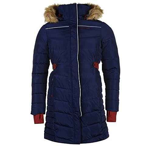 HAC Tac Long Veste en duvet pour femme Bleu marine/framboise Parka vestes manteaux Equestrian moyen Navy/Berry