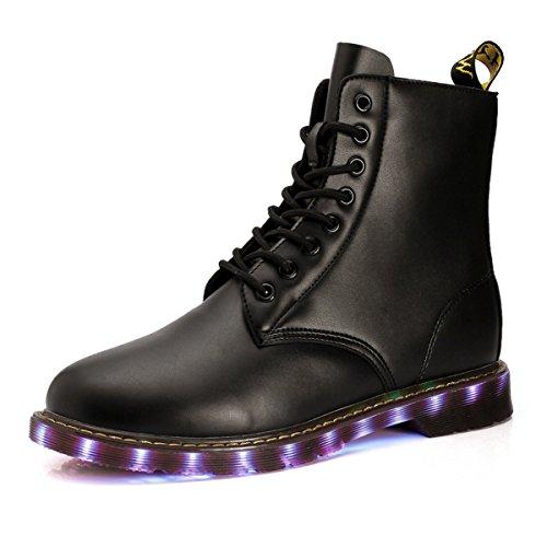 Joymoze Bottes LED de Mode High Top en cuir rechargeable avecUSB Bottine Bottes de combat d'hiver pour les hommes et les femmes Noir