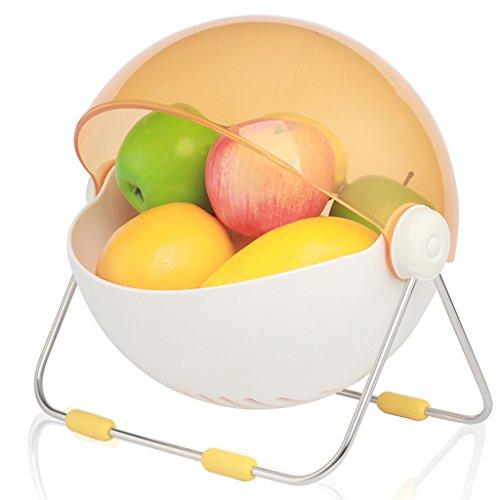 Kreative Runde Moderne Obstkorb Mit Deckel Candy Farbe Wohnzimmer Dekoration Mode Obstablage Obst Ablagekorb ( Color : Yellow - Abdeckungen Mit Objektträger