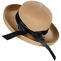 Delicacydex Estilo británico Moda para Mujer Tejido Sombrero de Paja  Moderno Playa Plana Sombrero Sombrero clásico 213af72e951