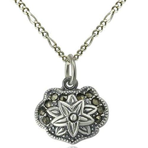 Epinki 925 Sterling Silber Damen Halskette, Blumenchloss Form Anhänger Statementkette Poliert Silberkette Silber 1.31x1.2 CM mit Zirkonia -