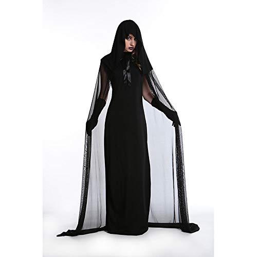 ChenYi Halloween Kleid Cosplay Kostümparty Erwachsene Damen Mesh Festival/Holiday Polyster Schwarz Karnevalskostüme Voiles Sheers,Black-XL-Women (Lady Gespenst Kostüm)