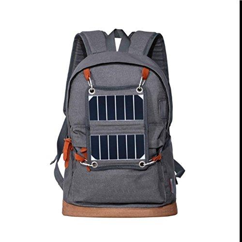 Outdoor Schulter Rucksack Solar LED Indikator Camping Tasche Jeans Sport Reise Paket Grey
