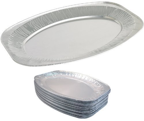 Foil Tray (10 x 17 Oval Silver Embossed Foil Food Platter / Tray / Dish (43cm) by Swoosh Supplies)