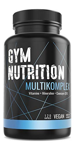 GYM-NUTRITION® - Multi Komplex Multimineral-Tabletten - Vitamin-Tabletten plus Spuren-Elemente & Q10 - Vitamin-Präparat mit Mineralien - vegan, hochdosiert, Made in Germany - 120 Kapseln -