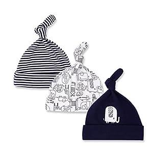 CuteOn 3 Paquete Bebé Beanie Nudo Sombrero Recién Nacido Chicos Chicas Algodón Ajustable Gorra para Bebé 0-6 Meses