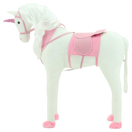 """Sweety Toys 10004 EINHORN Plüsch Pferd XXL Riesen GIANT Stehpferd Reitpferd """"GIGANTIC UNICORN"""" Größe ca.110 cm Kopfhöhe bis 100 kg belastbar, Farbe weiss mit langer weisser Mähne und weissem geflochtenen Schweif mit Sattel rosa und Pferdedecke Zaumzeug"""
