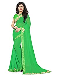 Riva Enterprise Women's Mirror And Hand Work Border Pattern Saree With Blouse