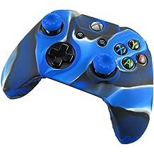 Pandaren Cubierta agarre piel de silicona suave protector para XBOX ONE prevenir golpes y arañazos (camuflaje azul) + pulgar tapa palo agarre x 2
