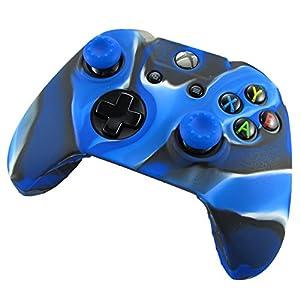 Pandaren® Silikon hülle skin Schutzhülle für Xbox One controller (Tarnung blau) x 1 + thumb grip aufsätze x 2