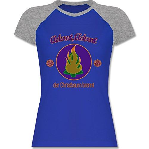 Weihnachten & Silvester - Advent, der Christbaum brennt - zweifarbiges Baseballshirt / Raglan T-Shirt für Damen Royalblau/Grau meliert